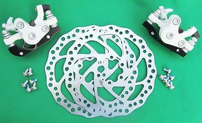 Mechanical Disc Brake MTB Bike  Front Rear WHITE Calipers, 160mm Rotors