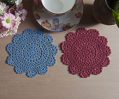 Cotton Fine Yarn Hand Crochet Lace Doily Doilies Round 14-15CM Blue Burgundy