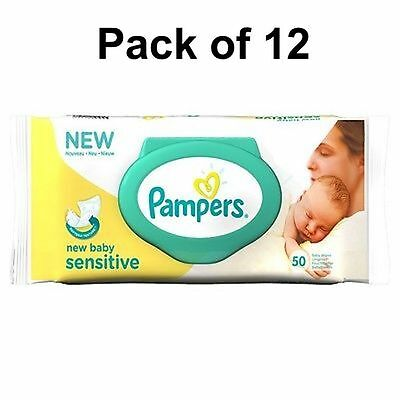 12 X 50 Pampers Sensitive Baby Wipes Care