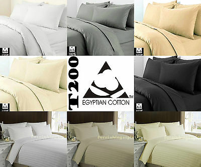 Luxury 100% Egyptian Cotton Duvet Quilt Cover Pillow case Bedding Set All Sizes