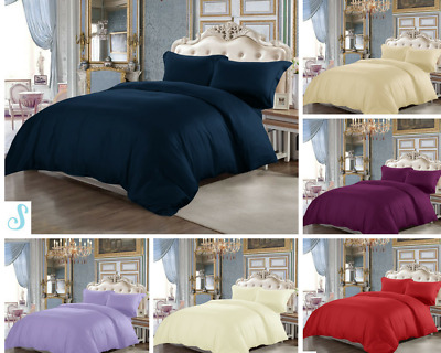 100%Egyptian Cotton Duvet Quilt Cover Set  Pillow Cases & Fitted Sheets