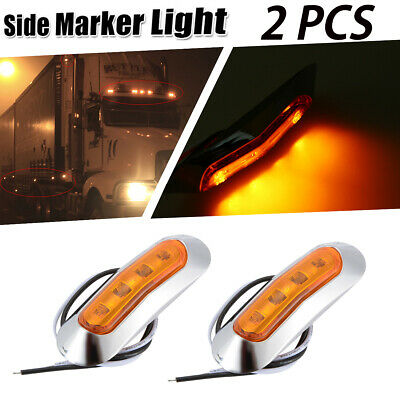 2x Amber/Yellow 4 LED Side Marker Light & Clearance Lamp Front/Rear Universal