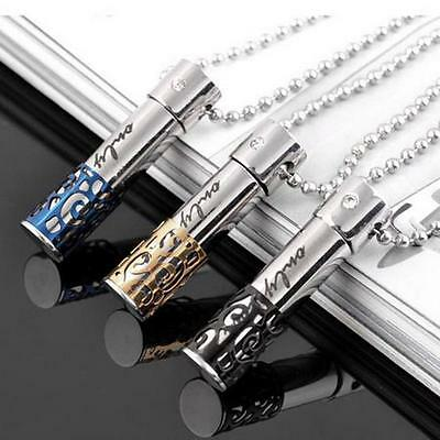 Stainless Steel BULLET Pill Ash Holder Memorial Cremation Urn Pendant Necklace E