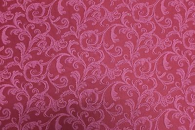5 1 3 Yards Dark Red Damask Upholstery Fabric Solid Victorian French