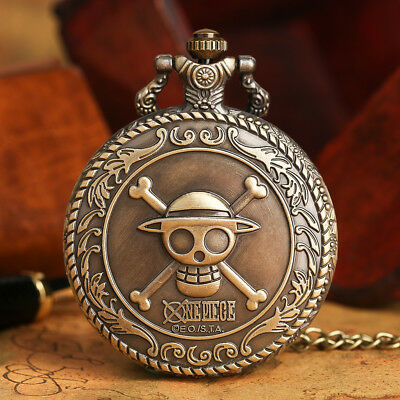 One Piece Pirate Skull Bronze Quartz Pocket Watch Mens Women 80cm Necklace Chain