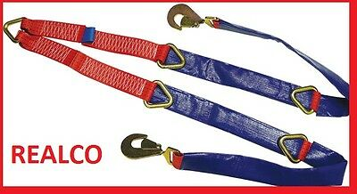 RED Fixed Winch Brother Straps for Recovery (ratchets flat bed tie down kit)