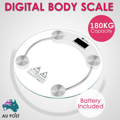 180KG Digital Body Scale LCD Glass Weight Scales Bathroom Gym Electronic CLEAR