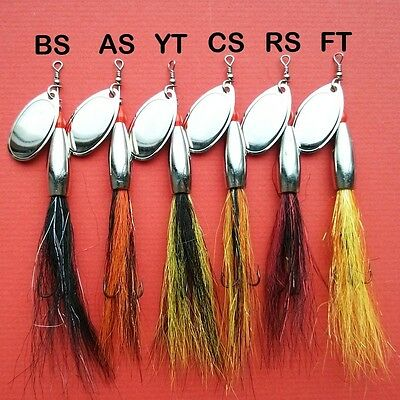 Bullet Head Bucktail Flying C's Spinner Lure Nickle 12g & 16g 6 Salmon Patterns.
