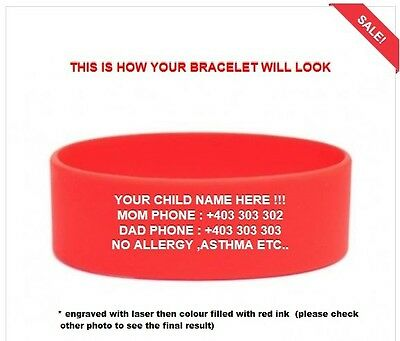 custom lost Child Vital ID Wristband Medical Identity Bracelet Allergy Asthma
