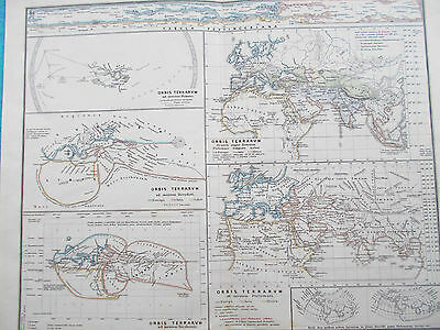 Map World at different ancient times. 1865. Empires. Roman. World Justus Perthes