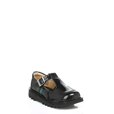 Kickers Kids Infant Black Patent Leather Shoes Buckle Girls School 1-12531 Size
