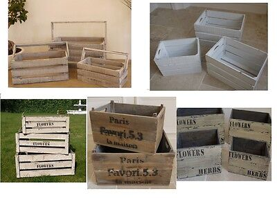 Home Garden Rustic wooden Shabby Chic Crate Bucket POT PLANTER Holder 6 Type NEW