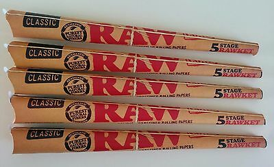 5 Raw Rawket 5 Stage 5 Cones Per Pack Pre Rolled Emperador, Kingsize (25 Total)