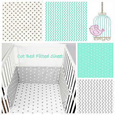 Cot Bed Fitted Sheet 100% COTTON Grey Mint Stars , Clouds, Chevron Bedding