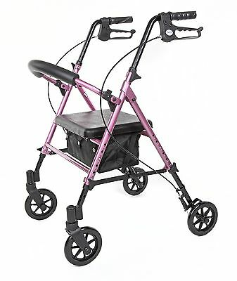 Excellent Pink Rollator Walker With Adjustable Seat Handle Height Bralicious Painted Fabric Chair Ideas Braliciousco