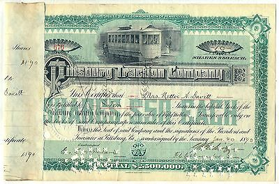 Pittsburg Traction Company Stock Certificate Pennsylvania Pittsburgh