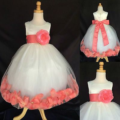 Ivory Tulle Coral Rose Petal Dress Flower Girl Bridesmaid Easter Recital #024