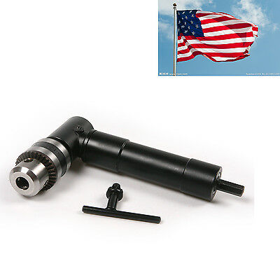 Range 1-10mm Electric 90 Degree Angle Hex Shank Chuck Self Drill Adapter w/ Key