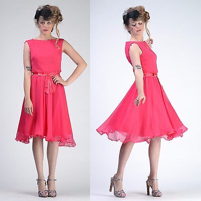 263776e9618 VTG 50s 60s Elinor Gay Pink Chiffon Party FULL CIRCLE SKIRT Wedding Prom  DRESS S