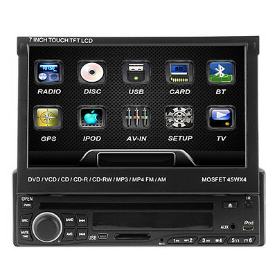 "7"" CAR AUDIO FLIP OUT TOUCHSCREEN RECEIVER DVD CD iPod PLAYER CAR STEREO"