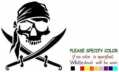 Pirate Skull and Cross Swords Jolly Roger Vinyl Decal Sticker Car Window 6""