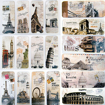 30Pcs Paris London Decor Bookmark Novelty Ducument Book Marker DIY for Kids Gift