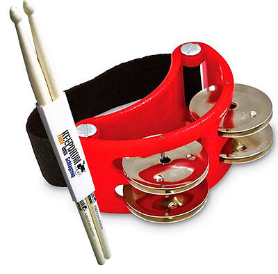 LP Latin Percussion LP188 Tambourine Fuß-Schellenkranz + KEEPDRUM Drumsticks