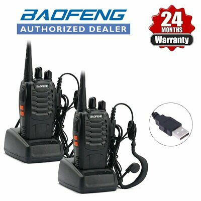 2x Baofeng BF-888S UHF 400-470Mhz 2-Way Walkie Talkie Radio + UV-5R Earpieces AU
