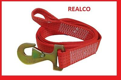 RED 5 METER TOW WEB WITH LOOP & SNAP HOOKS (rope winching 4X4 recovery strap)