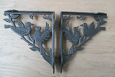 Pair of 2 BIRD WOODLAND ANTIQUE STYLE CAST IRON WALL SHELF BRACKETS BRACKET