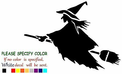 Witch on Flying Broom Funny Vinyl Decal Sticker Car Window laptop truck 7""