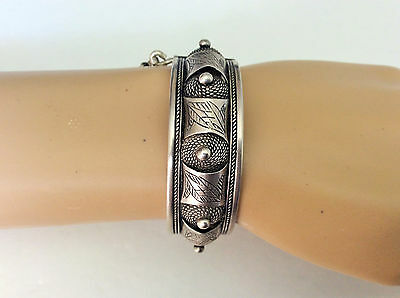 Vintage Moroccan Berber Silver Bracelet Hinged Cuff Handcrafted Ethnic Artisan