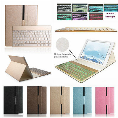iPad Air 1/2 7 Color Backlit Bluetooth Keyboard Smart Case Folio Leather Cover