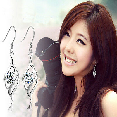 New Fashion Angel Feather Earrings For Gril Silver Plated Drop Earrings