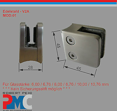 Stainless Steel V2A Glass Holder ø 42,4mm Clamp Clamp Mod :0 1 Balcony Glass