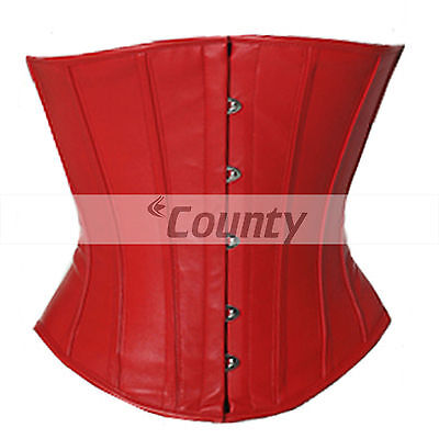 5ce0f2907c Underbust Corset Red Real Leather Full Steel Boned Spiral Basque Lacing  Shaper
