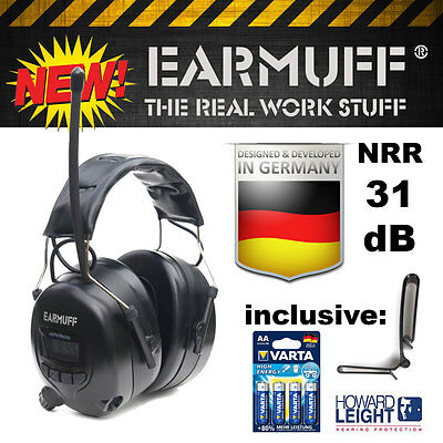 BLACK -31dB Ear Defender Ear Muff Hearing Protector with Radio Digital Am/Fm/Mp3