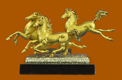 24K Gold Three Mustang Horses Bronze Sculpture Statue Abstract Modern Art Decor