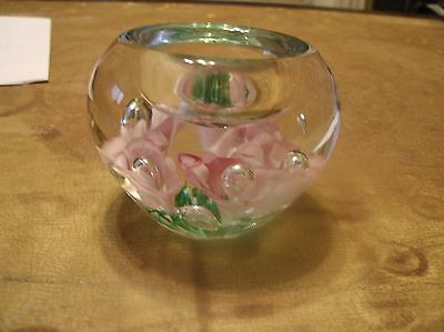 Gibson 1995 Vintage Glass Flowers Floral paperweight with resevoir for paperclip