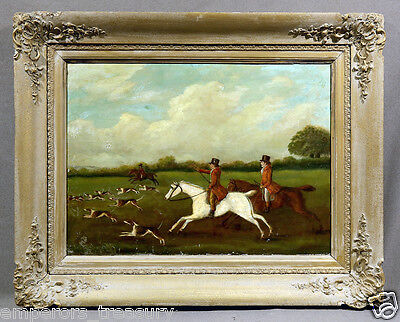"""Early 20th Century English School Oil Painting """"Fox Hunting"""""""
