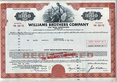 Williams Brothers Company Bond Stock Certificate
