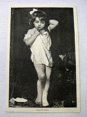 1889 antique engraving - LITTLE MISS NAUGHTY
