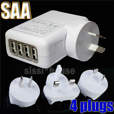 4 Ports USB Travel Power Wall AC Charger Adapter UK US AU EU Plugs Universal OZ