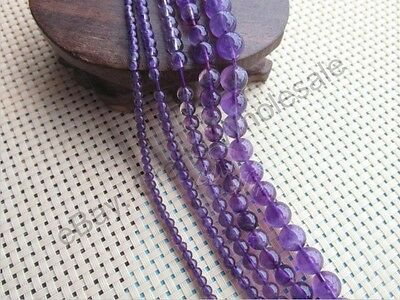 16'' 4MM 6MM 8MM 10MM 12MM Grade A Natural Amethyst Gemstone Round Spacer Beads