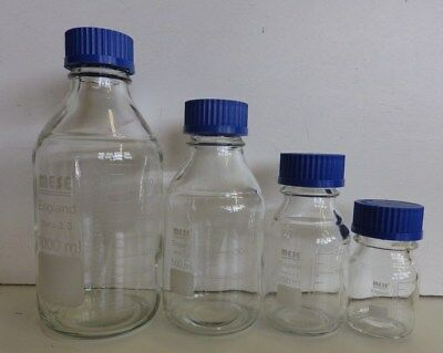 MESE Glass Reagent Bottle Borosilicate Blue Screw Cap 100, 250, 500,1000, 2000ml
