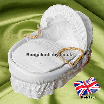 White Broderie Anglaise Replacement Moses Basket Dressing Dressings Covers Rods