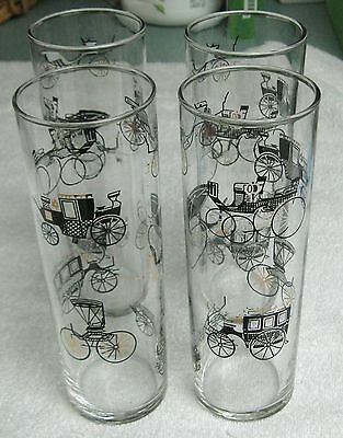 Libbey Beverage Ice Tea Collins Glasses Set of 4 Old Time Carriages Theme