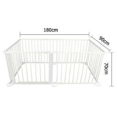 Baby Natural White Wooden Playpen Toddler Divider Safety Gate 6 Panel