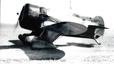 GEE BEE #4 RACING AIRPLANE LANDING FROM VIN. NEGATIVE 5 x 7  B & W  PHOTOGRAPH