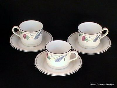 Lenox Chinastone Poppies On Blue 3 Cups & Saucers Red Flowers
